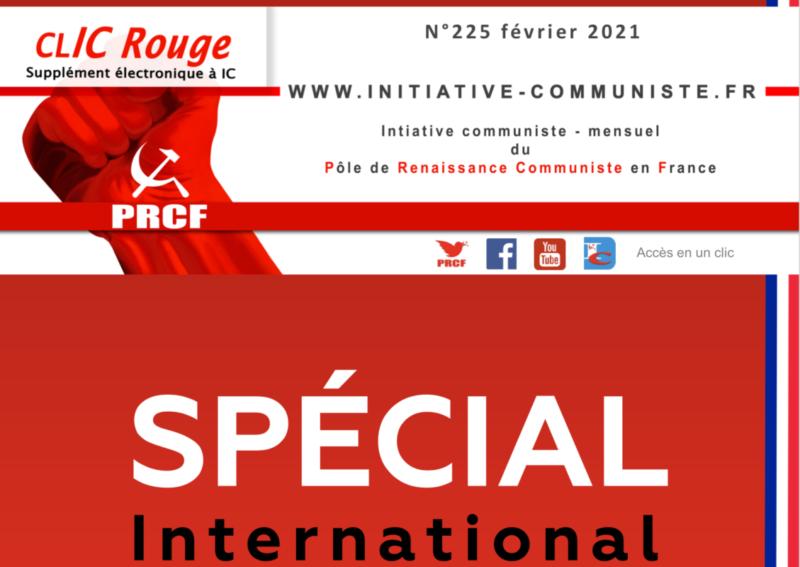 CLIC Rouge 225 – votre supplément électronique gratuit à Initiative Communiste [Février 2021] …