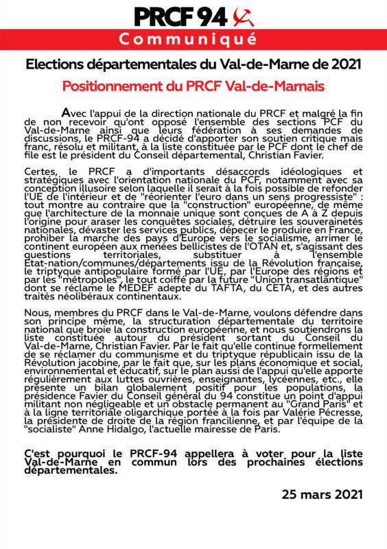Élections départementales du Val-de-Marne : le PRCF 94 prend position !