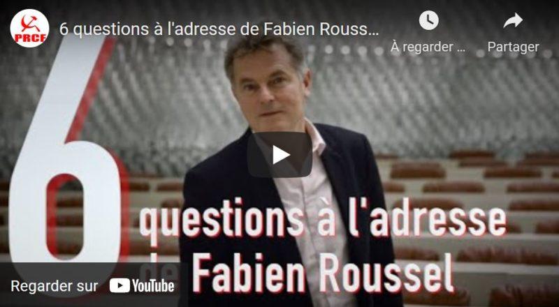 6 questions de Fadi Kassem porte-parole de l'Alternative rouge et tricolore à Fabien Roussel, candidat du PCF- PGE.
