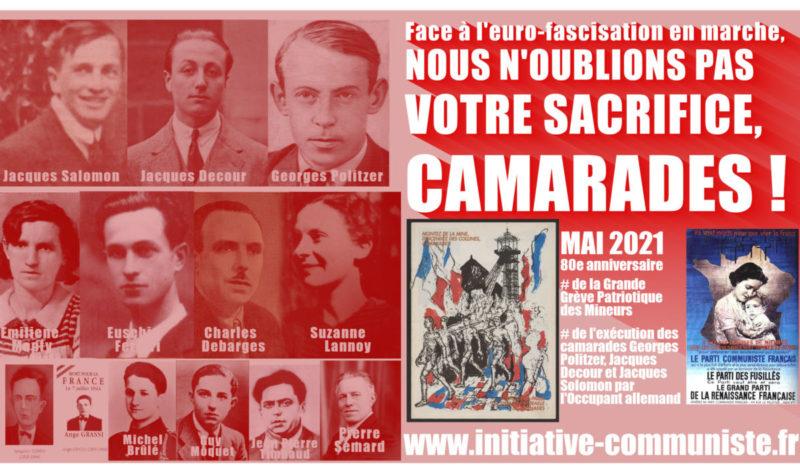 Face à l'euro-fascisation en marche, NOUS N'OUBLIONS PAS VOTRE SACRIFICE, CAMARADES !