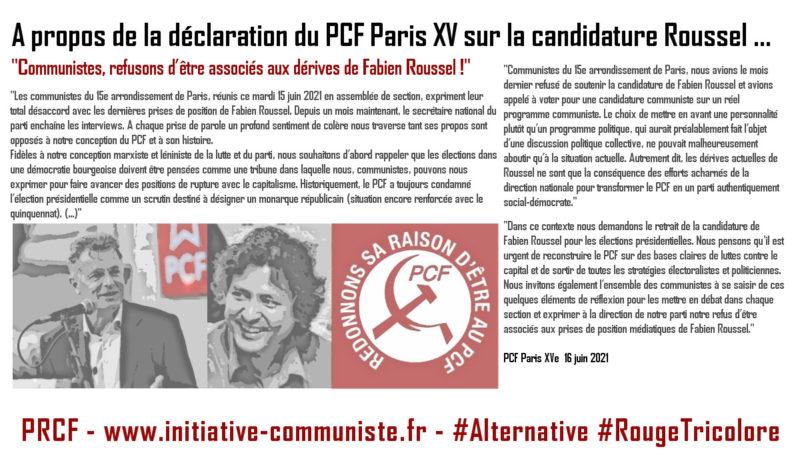 À propos de la déclaration du PCF Paris XV sur la candidature Roussel.