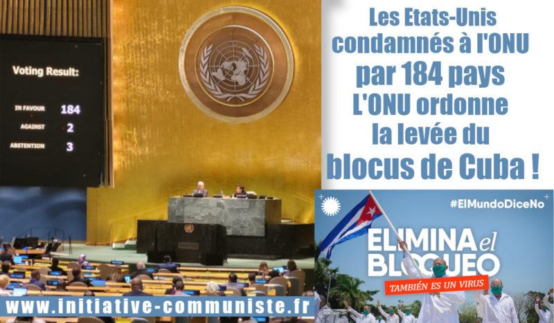 Les États-Unis condamnés à l'ONU par 184 pays, l'ONU ordonne la levée du blocus de Cuba.