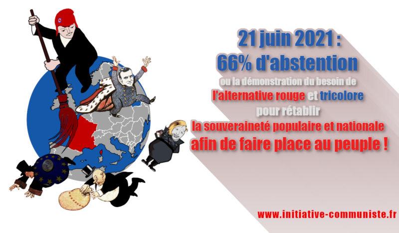 66% d'abstention démontrent le besoin de l'alternative rouge et tricolore pour rétablir la souveraineté populaire et nationale afin de faire place au peuple !
