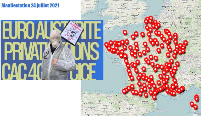 La carte des manifestations du 24 juillet : c'est le capitalisme et le virus qu'il faut combattre pas les salariés !