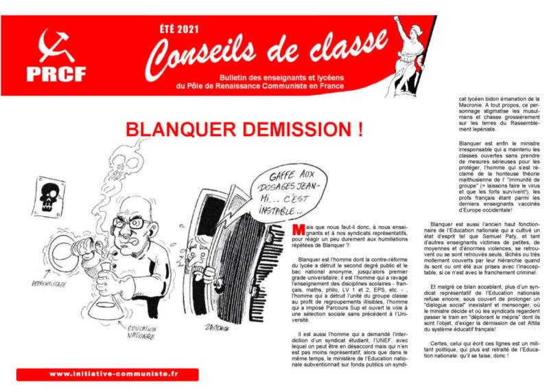 Conseil de Classe : Blanquer démission !