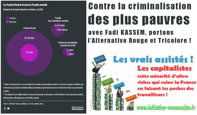 Contre la criminalisation des plus pauvres, avec Fadi KASSEM, portons l'Alternative #RougeTricolore !