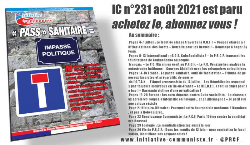 IC n°231 août 2021 est paru achetez le, abonnez vous !