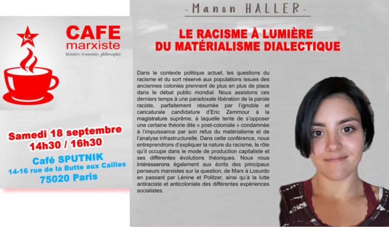 Café Marxiste la reprise : » le racisme à la lumière du matérialisme dialectique» [Paris – 18/09]
