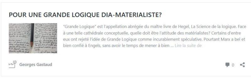 VERS UNE 'GRANDE LOGIQUE' DIA-MATERIALISTE ? – par Georges Gastaud