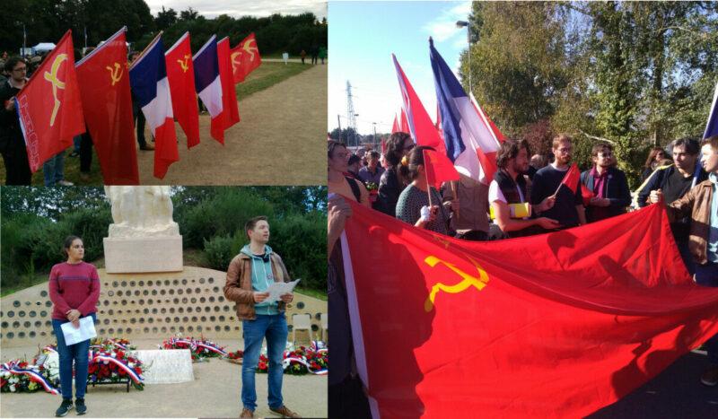 Chateaubriant, les communistes avec le PRCF et les JRCF ont rendu hommage aux héros résistants communistes. Avec leur drapeau rouge.