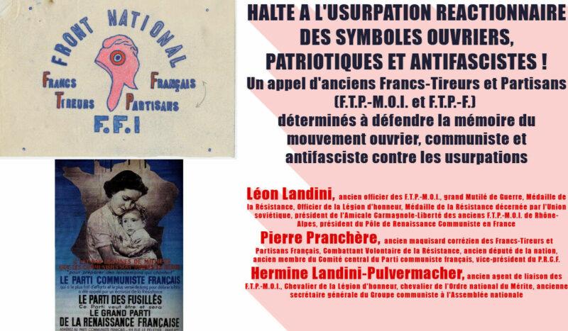 HALTE A L'USURPATION REACTIONNAIRE DES SYMBOLES OUVRIERS, PATRIOTIQUES ET ANTIFASCISTES !
